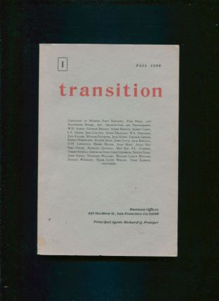 Transition 1; Catalogue of Modern First Editions, Fine Press, and Illustrated Books;. Richard Q....